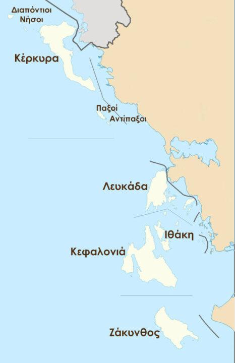 Χάρτης Περιφέρειας Ιονίων Νήσων